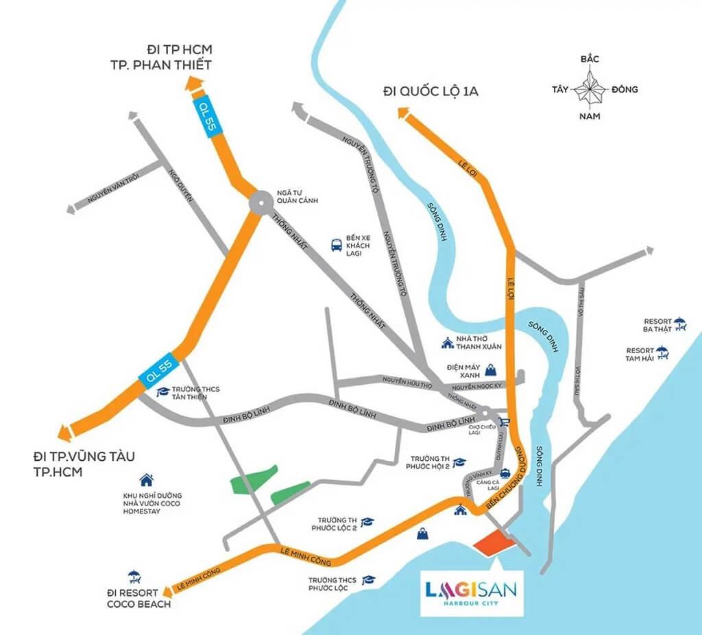 Vị trí dự án khu đô thị phức hợp Lagisan HarBour City Bình Thuận