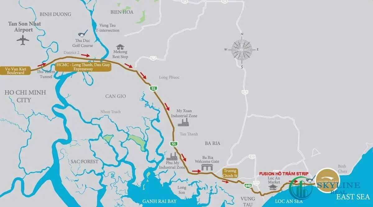 Vị trí dự án Ixora Hồ Tràm Bà Rịa Vũng Tàu